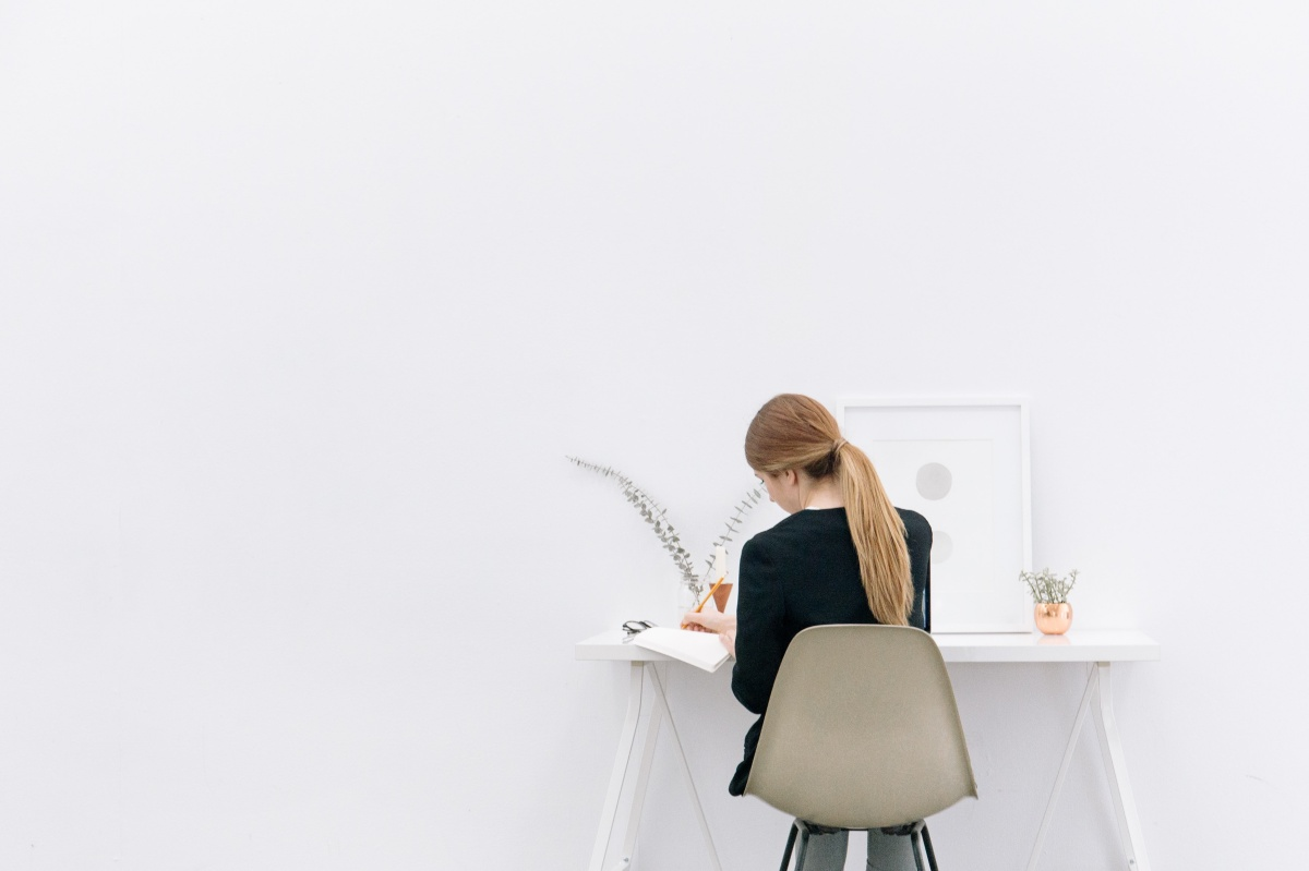 woman designing at desk